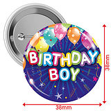 Happy Birthday Boy Badges - Blue (10 Badges - 38mm)