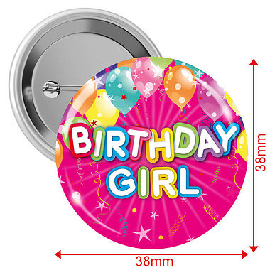 Happy Birthday Girl Badges - Pink (10 Badges - 38mm)