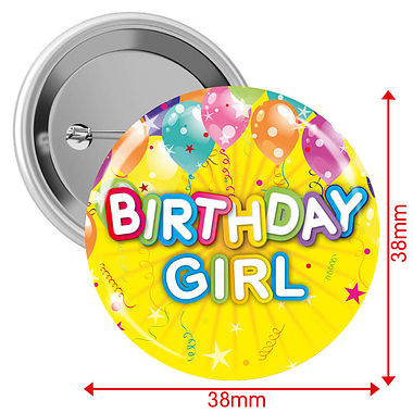 Happy Birthday Girl Badges - Yellow (10 Badges - 38mm)