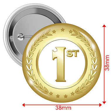 Gold First Place 38mm Button Badges x 10