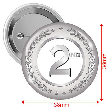2nd Badges - Silver (10 Badges - 38mm)