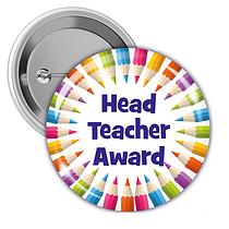'Head Teacher' Award Multi Coloured 38mm Button Badges x 10