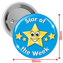 'Star of the Week' Light Blue 38mm Button Badge pack of 10