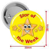 'Star of the Week' Yellow 38mm Button Badges pack of 10