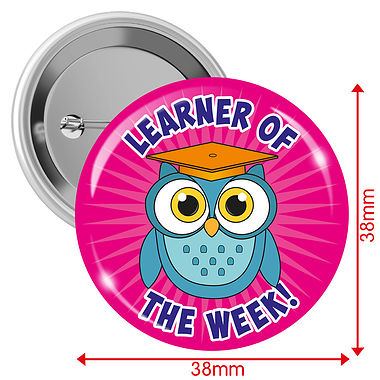 Learner of the Week Badges - Pink (10 Badges - 38mm)