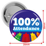 '100% Attendance' 38mm Button Badges Pack of 10