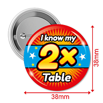 Pack of 10 I know my 2x Times Tables 38mm Button Badges