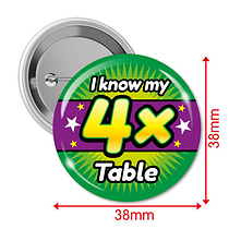 Pack of 10 I know my 4x Times Tables 38mm Button Badges