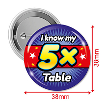 Pack of 10 I know my 5x Times Tables 38mm Button Badges