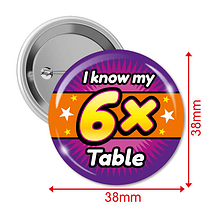 Pack of 10 I know my 6x Times Tables 38mm Button Badges