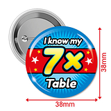Pack of 10 I know my 7x Times Tables 38mm Button Badges