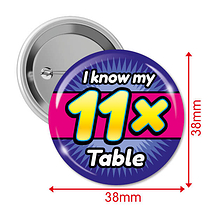 Pack of 10 I know my 11x Times Tables 38mm Button Badges