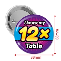 Pack of 10 I know my 12x Times Tables 38mm Button Badges