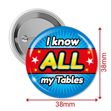 'I know ALL MY Times Tables' 38mm Button Badges Pack of 10