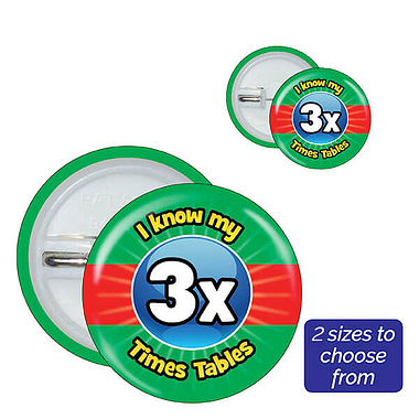 Three Times Tables Badges (10 Badges)