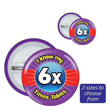 Six Times Tables Badges (10 Badges)