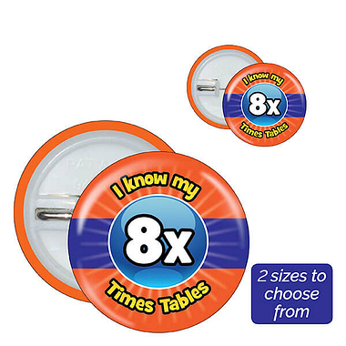 Eight Times Tables Badges (10 Badges)