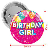 'Happy Birthday' Girl Badges - Pink (10 Badges - 50mm)