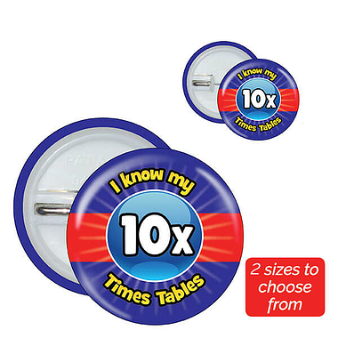 Ten Times Tables Badges (10 Badges)