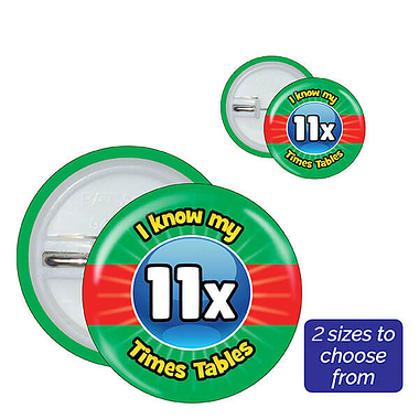 Eleven Times Tables Badges (10 Badges)