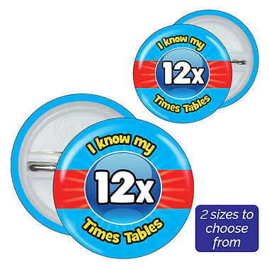 Twelve Times Tables Badges (10 Badges)