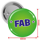 'FAB' Badges - Green (10 Badges - 50mm)