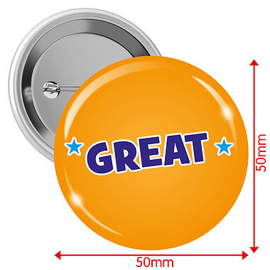 'GREAT' Orange 50mm Button Badges Pack of 10
