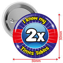 Pack of 10 I know my 2x Times Tables 50mm Button Badges