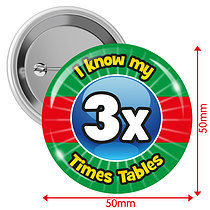 Pack of 10 I know my 3x Times Tables 50mm Button Badges