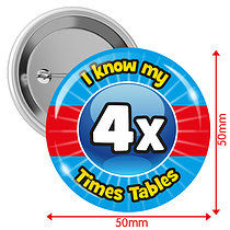 Pack of 10 I know my 4x Times Tables 50mm Button Badges