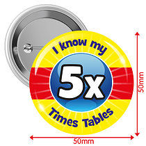 Pack of 10 I know my 5x Times Tables 50mm Button Badges