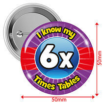 Pack of 10 I know my 6x Times Tables 50mm Button Badges