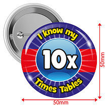 Pack of 10 I know my 10x Times Tables 50mm Button Badges