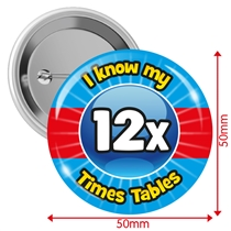 Pack of 10 I know my 12x Times Tables 50mm Button Badges