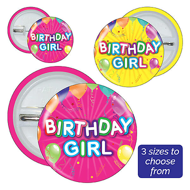 Birthday Girl Badges (10 Badges)