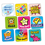 Sheet of 140 Mixed 16mm Square Stickers