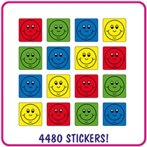 Value Pack of 4480 Mixed Smiles 16mm Square Stickers
