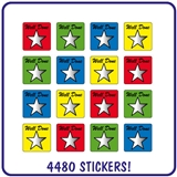 Value Pack of 4480 Well Done Star Stickers