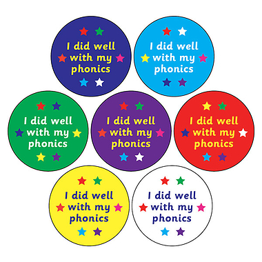 'I Did Well With My Phonics' Mixed 20mm Circular Stickers x 35