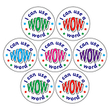 Mini Sheet of 35 I Can Use a WOW Word 20mm Circular Stickers