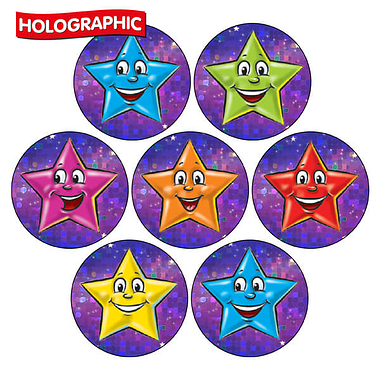 Mixed Coloured Stars Holographic 20mm Stickers x 35