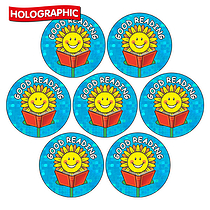 'Good Reading' Sunflower Holographic 20mm Stickers x 35