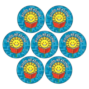 Holographic Good Reading Sunflower Stickers (35 Stickers - 20mm)