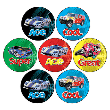 Mini Sheet of 35 Mixed Cars & Bikes 20mm Circular Stickers