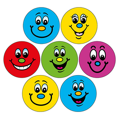 Smiley Face Dot Stickers (35 Stickers - 20mm) Brainwaves