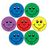 Mini Sheet of 35 Mixed Smiles 20mm Circular Stickers