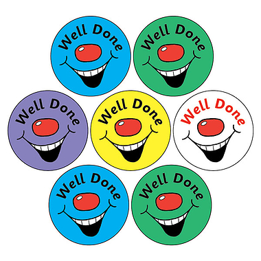 Smiley Stickers - Well Done (35 Stickers - 20mm)