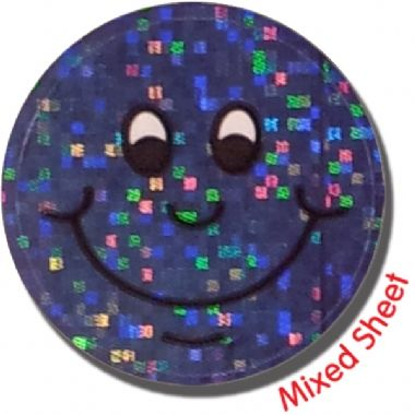 Holographic Smiley Stickers (35 Stickers - 20mm)