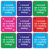 Mini Sheet of 35 Mixed Reading Stage 20mm Square Stickers