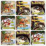 Mini Sheet of 35 Mixed Jungle Homework 20mm Square Stickers